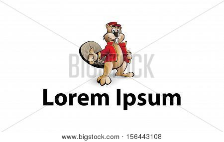 Cute beaver with red jacket logo design