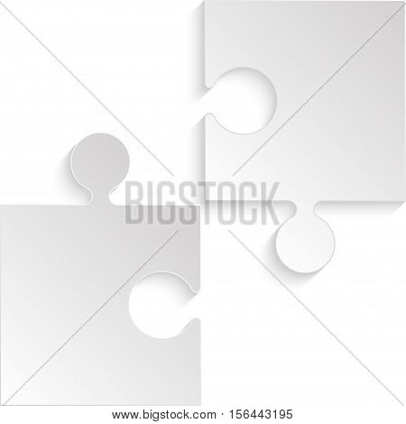 2 Grey Puzzles Pieces Arranged in a Square - JigSaw - Vector Illustration. Blank Template or Cutting Guidelines. Vector Background.