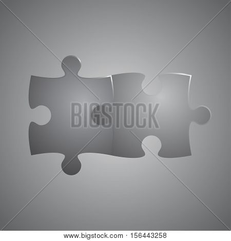 2 Puzzles Grey Pieces Arranged in a Square - JigSaw - Vector Illustration. Blank Template or Cutting Guidelines. Vector Background.