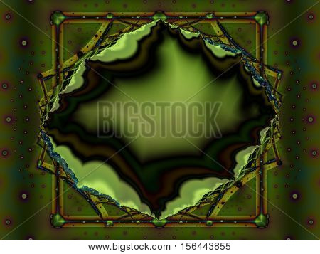 Green fractal depicting a geode gemstone in a frame. Suitable as a desktop background or for creative designs like book covers, banners, cards, posters, leaflets, presentations and many others.