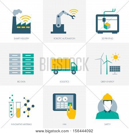 Industry 4.0 business automation and productivity icons set poster