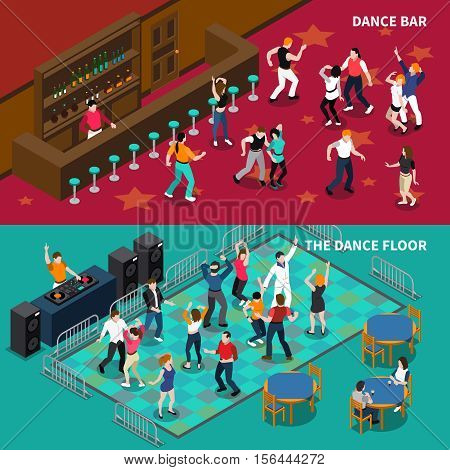 DJ bar pubs and cafe dance floor 2 horizontal isometric banners set with bartender isolated vector illustration
