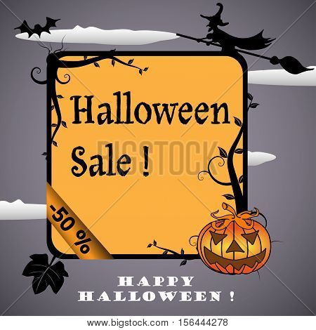 Halloween frame with evil pumpkin, witch flying on a broom and the text Halloween Sale written in the middle of the frame