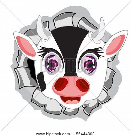 The Head animal cow in hole from metal.Vector illustration