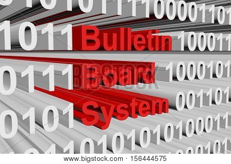 Bulletin Board System in the form of binary code, 3D illustration