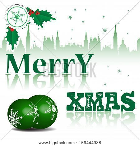 Colorful illustration with green Christmas balls, mistletoe and the text Merry Xmas written in green. Christmas concept