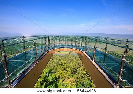 Transparent sky walk at Wat Pha Tak Suea in Sangkhom District Nong Khai province