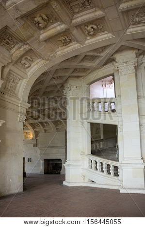 CHAMBORD, FRANCE - MAY 07, 2015: The double helix open staircase of the Chateau de Chambord Loir-et-Cher France