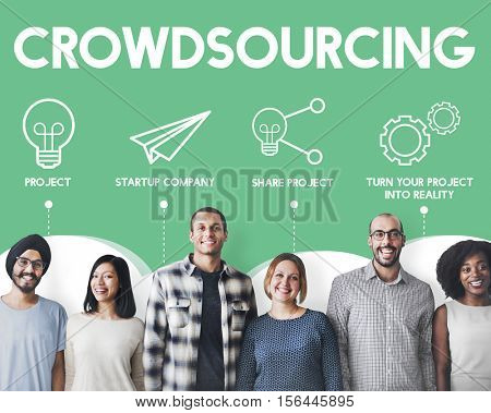 Startup Business Crowd sourcing Cooperation Graphic Concept