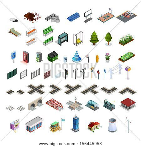 Modern city infrastructure isometric elements set of map constructor arcades buildings streets bridges and utilities isolated vector illustration