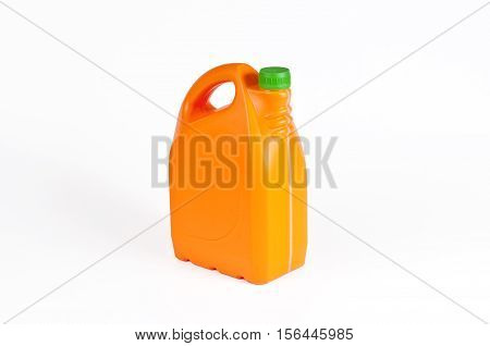 Orange plastic jerrycan with a green cap on white background.