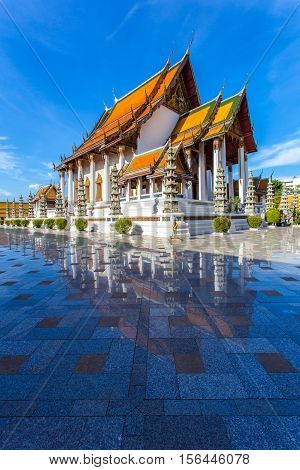 Wat Suthat Thep Wararam is a buddhist temple and landmark in Bangkok Thailand