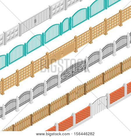 Colorful fences with gate isometric elements set in brick concrete wooden picket performance isolated vector illustration