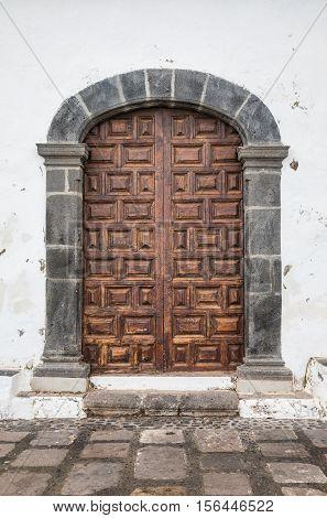 Side door of the chapel Ermita San Telmo in Puerto de la Cruz, Tenerife, Spain