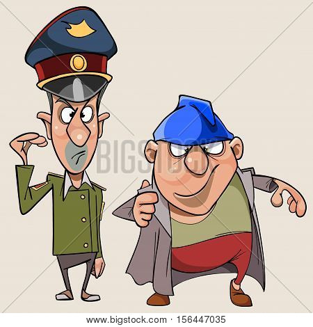cartoon man in the form of a military and a thick topper