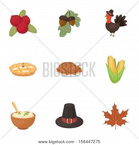 Canadian Thanksgiving Day set icons in cartoon style. Big collection of canadian Thanksgiving Day vector symbol stock