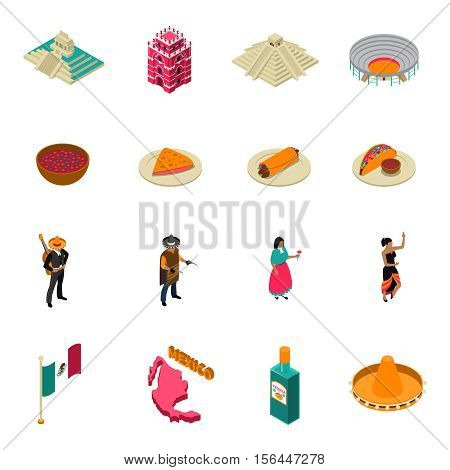 Mexico touristic attractions isometric icons collection with famous chichen itza temple landmark and tacos isolated vector illustration