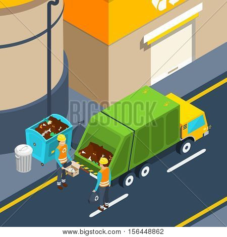 Scene of garbage collectors at work with waste container and special truck near factory isometric poster vector illustration