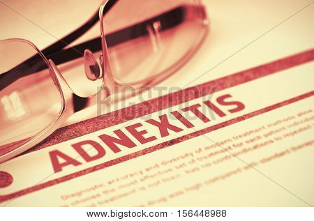 Diagnosis - Adnexitis. Medicine Concept on Red Background with Blurred Text and Eyeglasses. Selective Focus. 3D Rendering.