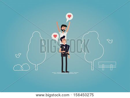 Gay relationship concept vector illustration of a young male couple. Two happy guys are having a good time on a date in the park. One sitting on the shoulders of other.