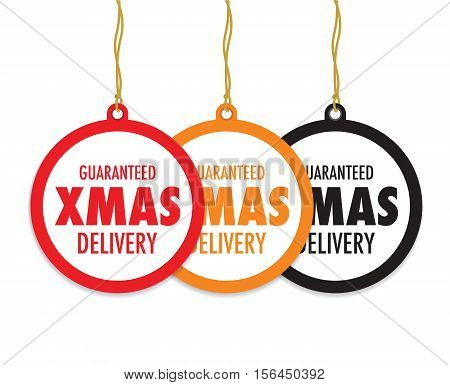 a set of three christmas delivery tag labels