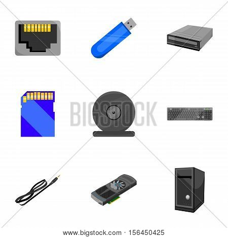 Personal computer set icons in cartoon style. Big collection of personal computer vector symbol stock