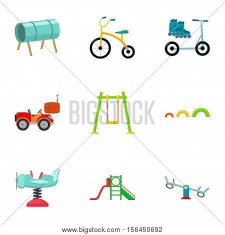 Play garden set icons in cartoon style. Big collection of play garden vector symbol stock