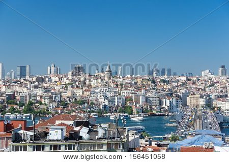 ISTANBUL TURKEY - JUNE 20 2015: View of the Galata Bridge Golden Horn Bay and districts Eminonu and Beyoglu in Istanbul Turkey