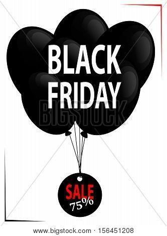 Black Friday. Ballons in black colour. Sale 75 percent. Vector illustration