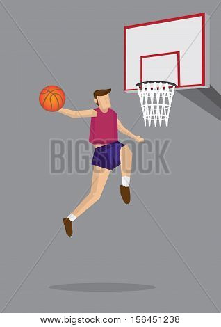 Single basketball player jumps up in the air to shoot. Vector cartoon illustration for slam dunk in action isolated on grey background.