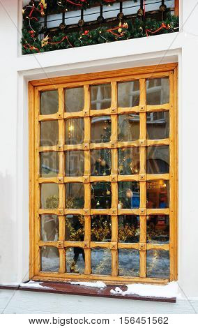 beautiful wooden window divided on many small Windows