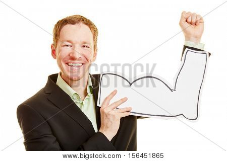 Motivation and assertiveness from a businessman with mussle made of paper
