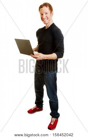 Webdesigner holding a computer and smiling content