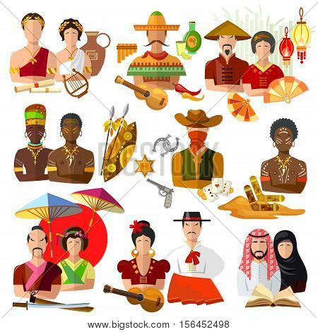 People of different nationalities japanese mexican australian american spanish chinese arab african greek