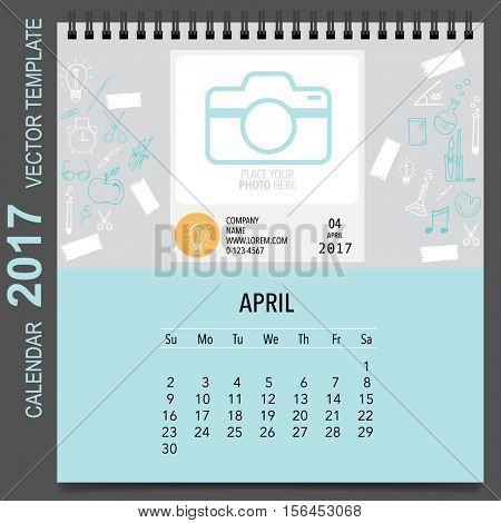 2017 Calendar planner vector design, monthly calendar template for April