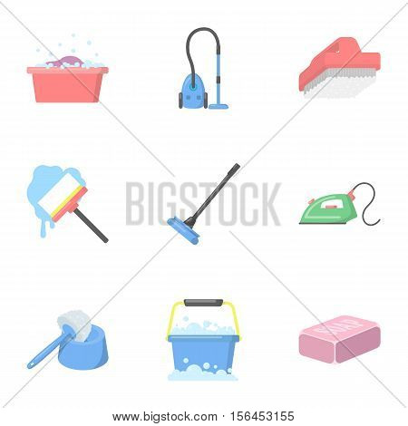 Cleaning set icons in cartoon style. Big collection of cleaning vector symbol stock