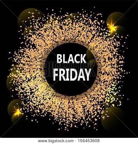 Black Friday abstract banner. Glowing flashes like solar eclipse. Vector illustration