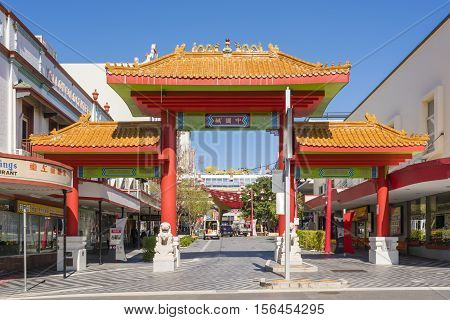 Brisbane, Australia - September 25, 2016: View of the entrance of Chinatown in Fortitude Valley, Brisbane with many Chinese restaurants and shops.