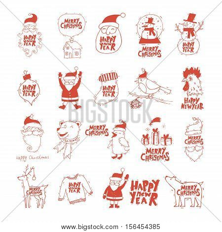 Merry Christmas and Happy New Year. Xmas Poster, banner, printed matter, greeting card. Lettering, calligraphy. Hand-drawn, lino-cut. Flat design vector illustration.