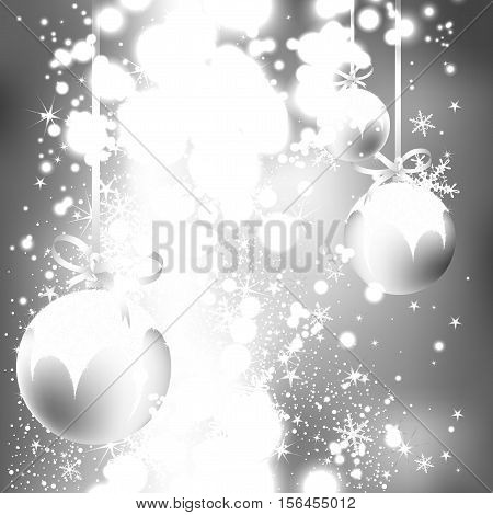 silver shining background with Christmas balls and snowflakes