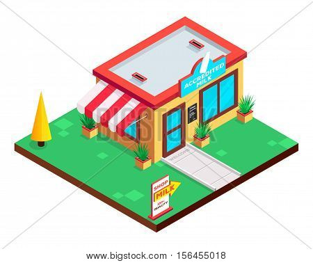 Dairy shop isometric building. Accredited milk. Flat isometric icon. Welcome to milk shop. Vector illustration