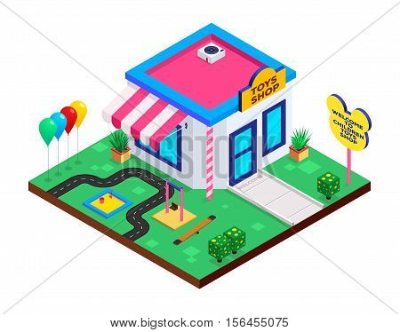 Isometric Children Toys Shop. Flat isometric icon. Toy Shop in isometric style with swings balloons and sandbox. Vector illustration