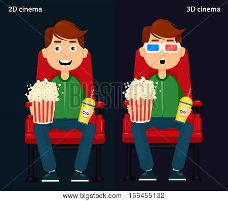 man Sitting in the Cinema and Watching a Movie 2D and 3D cinema. Colorful Vector Illustration Flat style EPS10