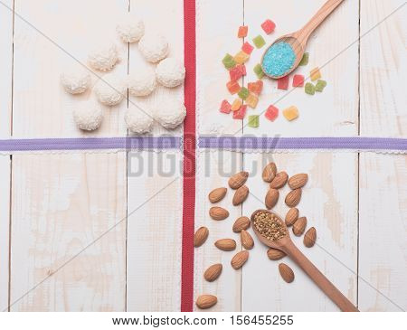 Jelly And Coconut Candies With Almonds