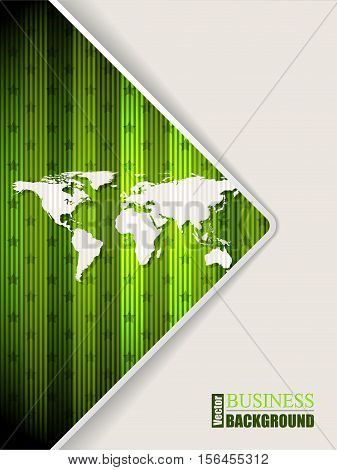Abstract green brochure design with stripes stars and world map