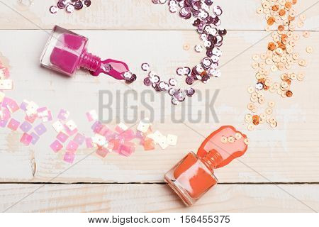 Bottles With Opened And Spilled Nail Polish