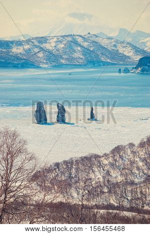 Severe winter landscape. Three rocks in the sea among the ice - Three Brothers against the backdrop of the volcano Viluchinsky the Kamchatka Peninsula. Toned vertical image.