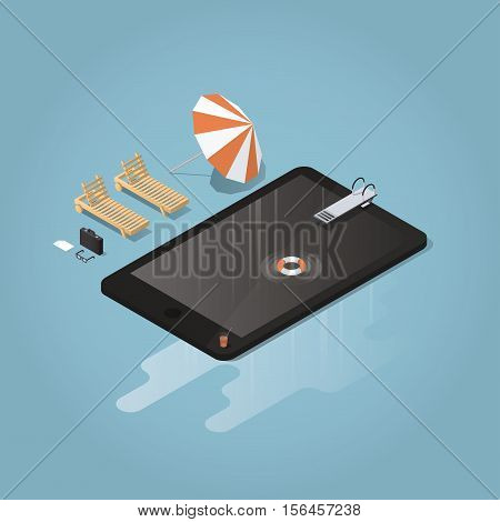 Isometric vector waterproof device concept illustration. Tablet or phone represented as a pool with diving board lifebuoy sunbed umbrella briefcaseglasses. Big puddle of water is under the device