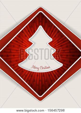 Red christmas greeting card design with bursting christmas tree