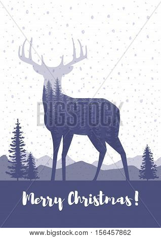 Merry Christmas cards design. Silhouette of a deer with pine forest blue and white colors background.